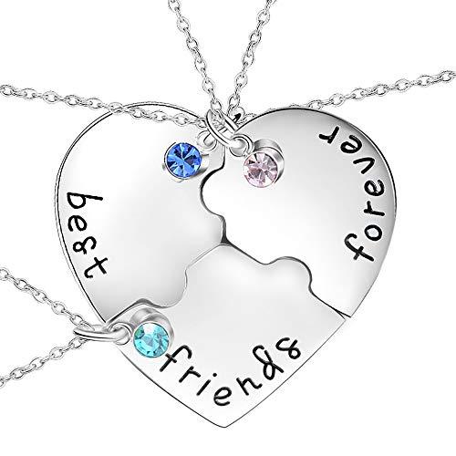KINGSIN Best Friend Necklaces For 3 Friendship Bff Pendant Best Friend Jewelry Kids Girls Women Heart 14k Engraved Puzzle Pendant Enhancers
