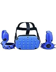 MASiKEN Unique Head Cover & Knuckle Straps for Oculus Quest Controller Grip Accessories, Controller Protector Covers Set, Shock-Resistant Sweatproof Lightproof (Blue)