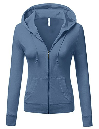 TOP LEGGING TL Women's Knit Stretch Zipper Solid Casual Zip up Hoodie Jackets in Colors