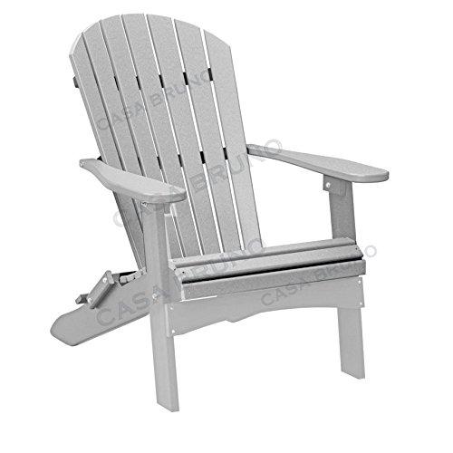 CASA BRUNO Original Oversized Alabama Adirondack Chair klappbar, aus recyceltem Polywood® HDPE Kunststoff, silbergrau - kompromisslos wetterfest