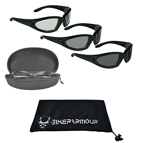 Bikershades Light Adjusting Motorcycle Sunglasses Foam Padded for Men w/Safety Polycarbonate Photochromic Lenses. Free Zipper Hard Case. ()