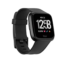 Fitbit Versa smartwatch, black/black aluminum, one size (s & l bands included), 0.71 lb