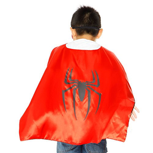 Fashoutlet Kids Satin Superhero Cape & Mask Boys Girl Cosplay Party Costume Fancy Dress (Spiderman)