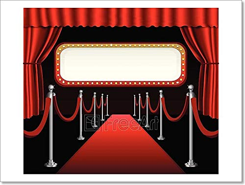 Red Carpet Movie Premiere Elegant Event Red Curtain Theater and Billboard Banner Paper Print Wall Art (12in. x 16in.)