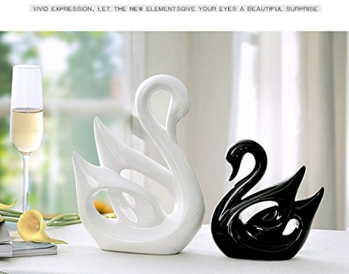 Ceramic Crafts Modern Home Living Room Wine Cabinet Bedroom Decoration Wedding Gift Decoration Creative Couple Swan Jingdezhen Ceramics Home Decoration Gift Boutique (White(Large)Black(small))