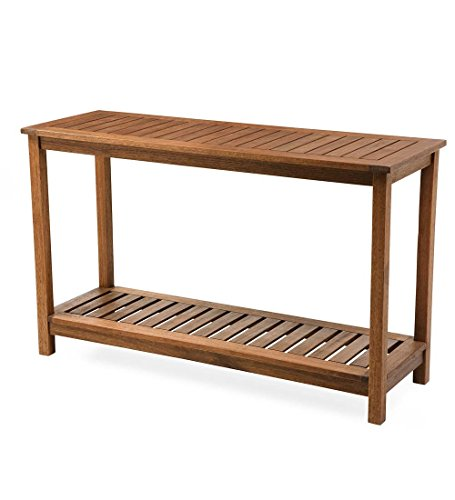 Plow & Hearth 62A40-NT Lancaster Outdoor Furniture Collection Eucalyptus Wood Console Table, Natural (Patio Table Console)