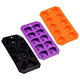 LJIF Ice Cubes Kids Teen Toddlers Halloween Flexible Silicone Ice Cube Mold Trays Skulls Spiders Pumpkins Spooky Creepy Rubber Tray Jello Chocolate Soap Mold Set of 3 Styles May Vary