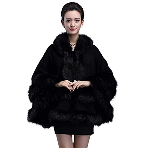 Caracilia Women's Faux Fox Fur Trim Hooded Knit Cape Cloak Coat Thick Black CA85 - Fur Trimmed Knit Jacket