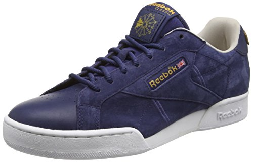 Reebok Herren NPC UK II Nubuck Sneaker Blau (Blue ink/White/Sand Stone/Rbk Brass)
