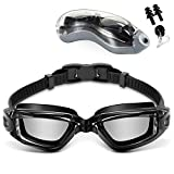 Jasonwell Googles para Natacion Gafas de Natación Anti Fog y Protección UV Swimming Goggles con Puente Flexible de Punta ,Gorra de Baño y Tapones para los Oídos para Adulto Hombres Mujeres Júnior (Negro)