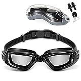 Jasonwell Googles para Natacion Gafas de Natación Anti Fog y Protección UV Swimming Goggles con Puente Flexible de Punta ,Gorra de Baño y Tapones para los Oídos para Adulto Hombres Mujeres Júnior (Negro) (Negro 2)