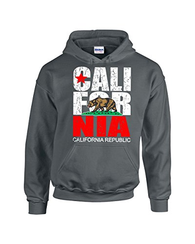 Camalen California Republic Most Popular Cali Design Unisex Pullover Hoodie Hooded Sweatshirt(Charcoal,XX-Large)