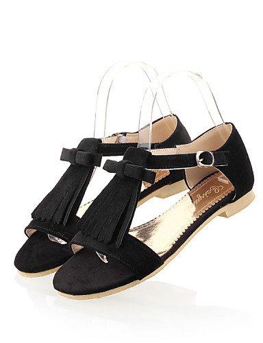 offener Lässig Black Flacher Sandaletten Kleid Rot Sandalen ShangYi Vorne Damenschuhe Schwarz Blau Schuh Komfort Damen Grün Absatz Vlies für B4Y41q7
