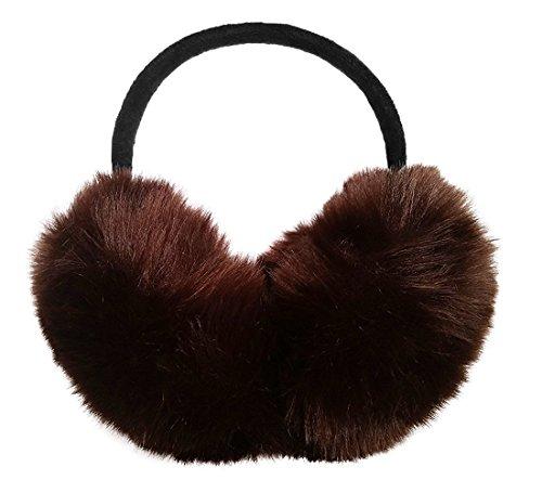 Womens Faux Rabbit Fur Earmuffs Foldable Winter Outdoor Ear Warmers Girls Earmuffs Adjustable (Coffee)