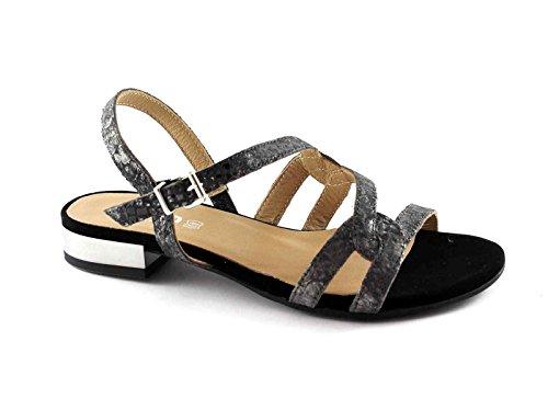 IGI & CO 78300 mujeres negras zapatos sandalias de correa de cuero elegante Nero