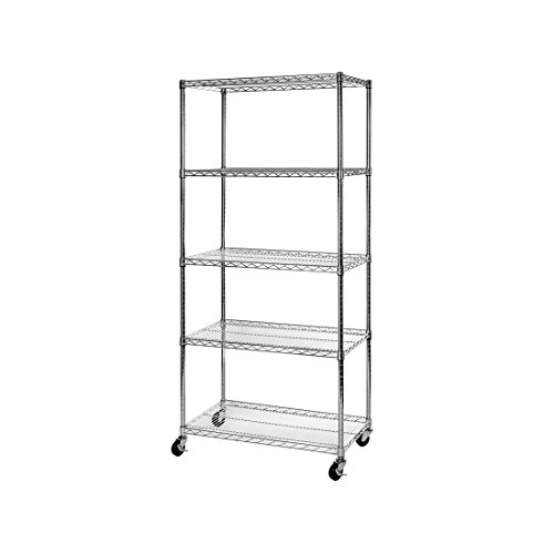"Seville Classics 5-Tier NSF Steel Wire Shelving /w Wheels, 18"" D x 36"" W x 72"" H"