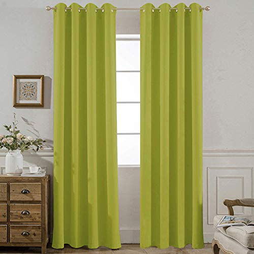 Yakamok Room Darkening Lime Blackout Curtains for Bedroom Thermal Insulated Window Panels, 52 W X 84 L Inch,Grommet Top,Set of 2 Panels Lime Curtains with Tie Backs (Lime Drapery Green Panels)