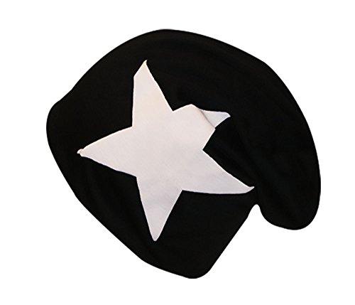 easy4fashion punto Stern Gorro hombre para mit de weißem Schwarz 11afwCrqxH
