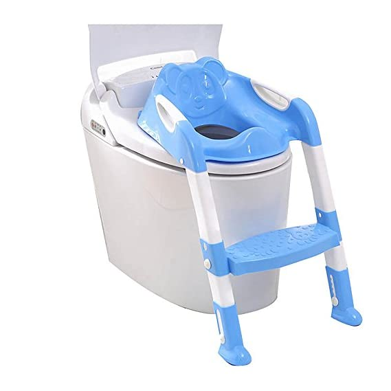 Sunbaby Foldable Potty-Trainer Seat for Toilet Potty Stand with Ladder Step Up Training Stool with Non-Slip Steps Ladder