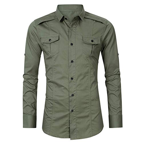 - OrchidAmor Men Casual Summer Solid Button Long Sleeve Turn-Down Collar T-Shirt Top Blouse 2019 Summer Army Green
