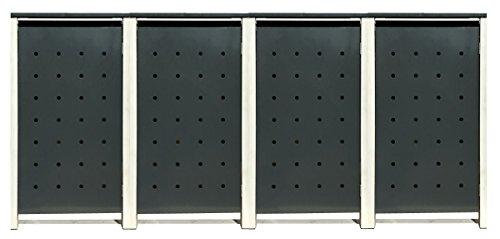 BBT@ | Hochwertige Mülltonnenbox für 4 Tonnen je 240 Liter mit Klappdeckel in Grau / Aus stabilem pulver-beschichtetem Metall / Stanzung 2 / In verschiedenen Farben sowie mit unterschiedlichen Blech-Stanzungen erhältlich / Mülltonnenverkleidung Müllboxen Müllcontainer
