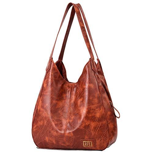 - Shoulder Bags for Women Soft Leather Hobo Bags 3 Compartment Large Capacity Handbag Multiple Pocket Tote Bag,Brown