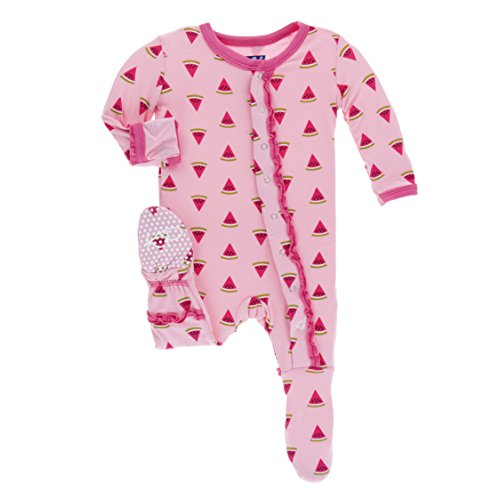 KicKee Pants Little Girls Print Muffin Ruffle Footie with Snaps - Lotus Watermelon, 3-6 Months