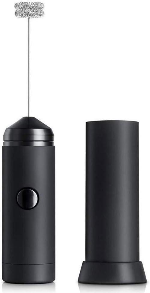 Black Batidor de leche de mano con batidor de acero inoxidable generador de espuma el/éctrico con bater/ía Batidor de huevos port/átil para capuchino//caf/é//chocolate caliente