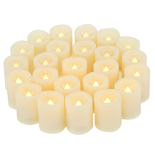 - 24 PCS Small Round Cream White Flameless Votive Candles Fake Unscented Flickering Battery Operated Electric Tea Lights Bulk Set Baptism Party Wedding Decorations Home Decor Centerpieces Batteries Incl