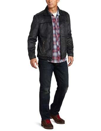True Grit Men's Pebble Sueded Zip Jacket, Vintage Black, Medium