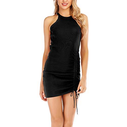 Mini Dress for Women Sexy Draped Halter Sleeveless Mini A-Line Dress Black ()