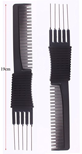 2pcs Black Carbon Lift Teasing Combs with Metal Prong, Salon Teasing Lifting Fluffing Comb with 5 Stainless Steel Pins - Metal Lift