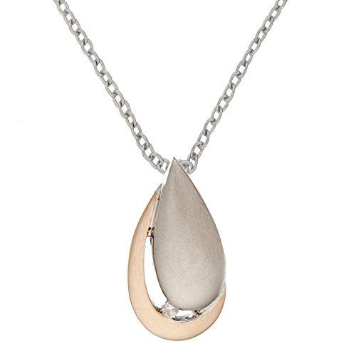 Silverly 10k Plaqué Or Argent 925 Diamant Collier Boucles d'oreilles (5/100 ct, H couleur, P3 Clarté), 46cm