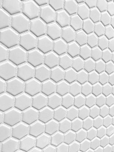 (White Hexagon Glossy Finish 12x12 Porcelain Mosaic Tile Bathroom Shower Kitchen)