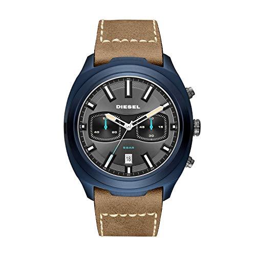 (Diesel Men's Tumbler Stainless Steel Analog-Quartz Watch with Leather Strap, Brown, 25.5 (Model: DZ4490))