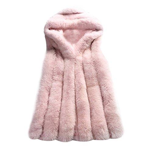 Manteau Femme Blouson Veste Hoodie  Capuche Fourrure Faux Hiver Chaud Manche Longue Chic et  la Mode sans Manches Grande Taille Rose