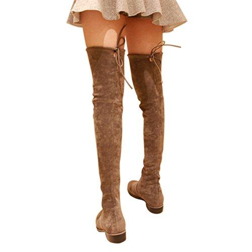 Flat Heel Thigh Boot - Kaitlyn Pan Women's Microsuede Flat Heel Over The Knee Thigh High Boots (37.5 CN/7 US/37 EU, Grey)