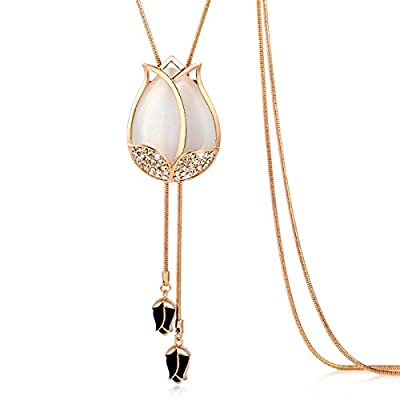 """Vintage Style Rosegold Long Multitier Tulip Womens Necklace Jewelry (Long - 32"""")"""