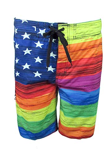 Licensed-Mart Men's American Flag Inspired Board Shorts, Rainbow, X-Large (36