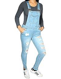 b3652a55ef63 Women s Skinny Denim Destructed Overalls