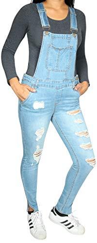 (dollhouse Women\'s Skinny Denim Destructed Overalls, Medium Ankle Slit, Size 3')