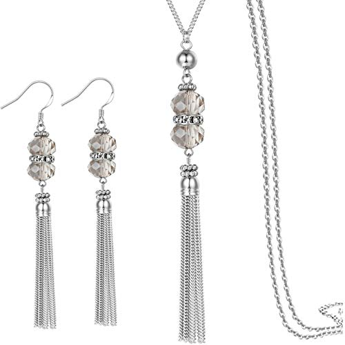 Perfect 4U Women's Wedding Bridal Double Crystal Teardrop Dangle Layered Statement Necklace Earrings Set Mother Gift (Grey - Necklace Grey Beaded
