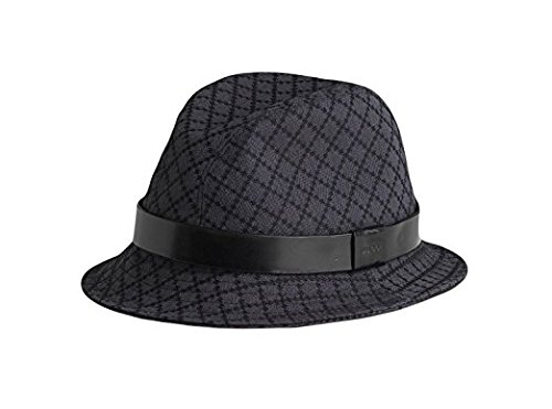 Gucci Diamante Black Charcoal Canvas Fedora Hat 200036 1160 (M) (Canvas Gucci Hat)