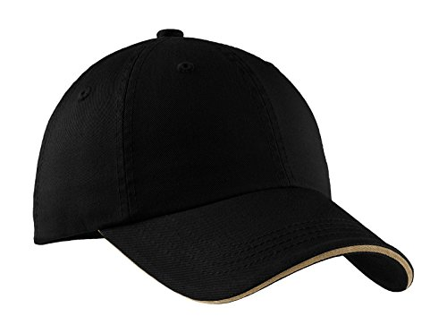Port Authority Men's Sandwich Bill Cap with Striped Closure OSFA Black/ Khaki