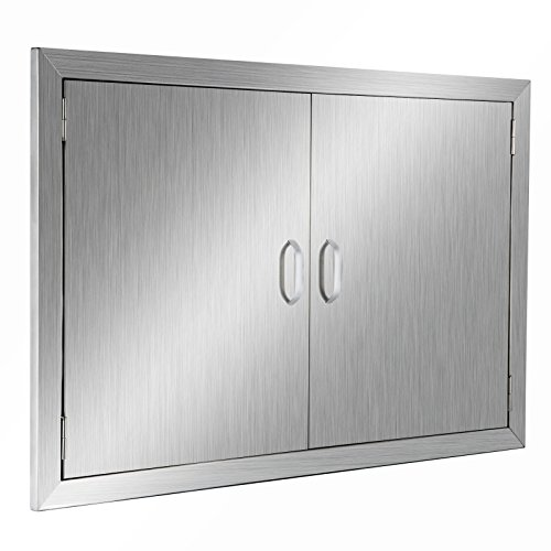 Great Features Of Happybuy BBQ Access Door Double Wall Construction 39W x 26H In. BBQ Island/Outdoor Kitchen Access Doors 304 Grade Brushed Stainless Steel Heavy Duty