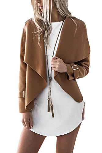 YACUN Manteau Casual Femmes Coat Lapel Veste Blazer Camel Waterfall dr7nw0d