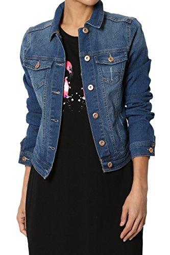 (TheMogan Junior's Classic Casual Slim Fit Washed Stretch Denim Jacket Blue S )