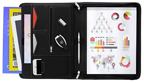 Legal Leather Street (STYLIO Zippered Portfolio w Premium Pen, Padfolio Binder, Interview Resume Document Organizer. Holders for iPad/Tablet (up to 10.1