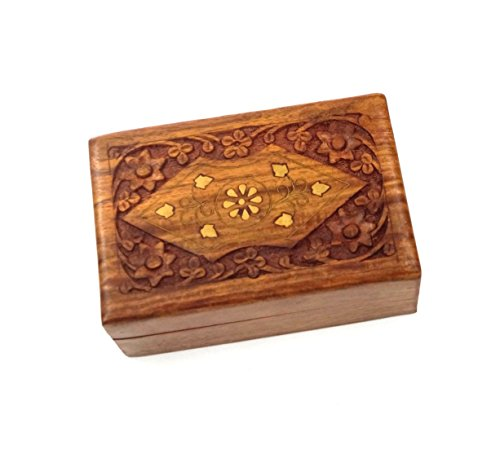 New Age Floral Design Handcrafted Wooden Box by New Age