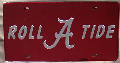 Alabama Crimson Tide RED Roll Tide SD25571 Deluxe Laser Cut License Plate Tag University of (New Alabama License Plate)